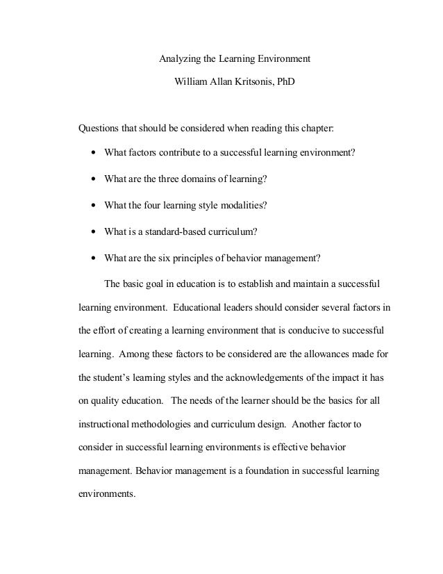 Analyzing the Learning EnvironmentWilliam Allan Kritsonis, PhDQuestions that should be considered when reading this chapte...