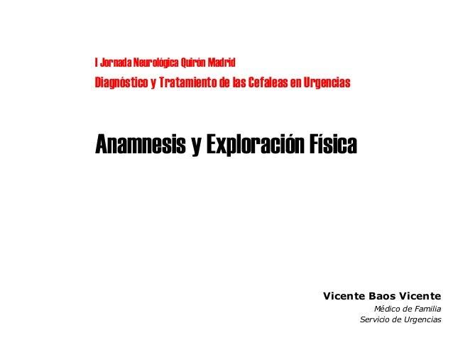 Anamnesis y exploración física de la cefalea en Urgencias Hospital