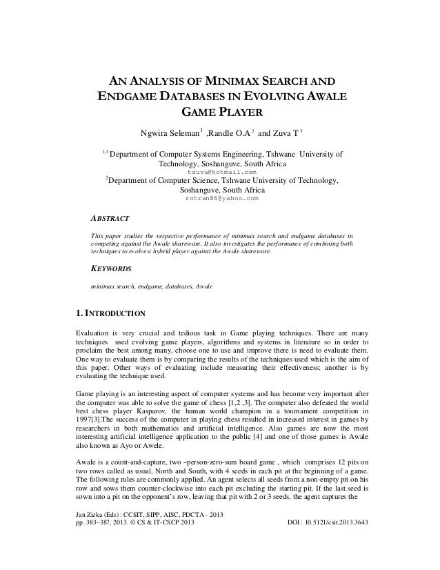 An analysis of minimax search and endgame databases in evolving awale game player