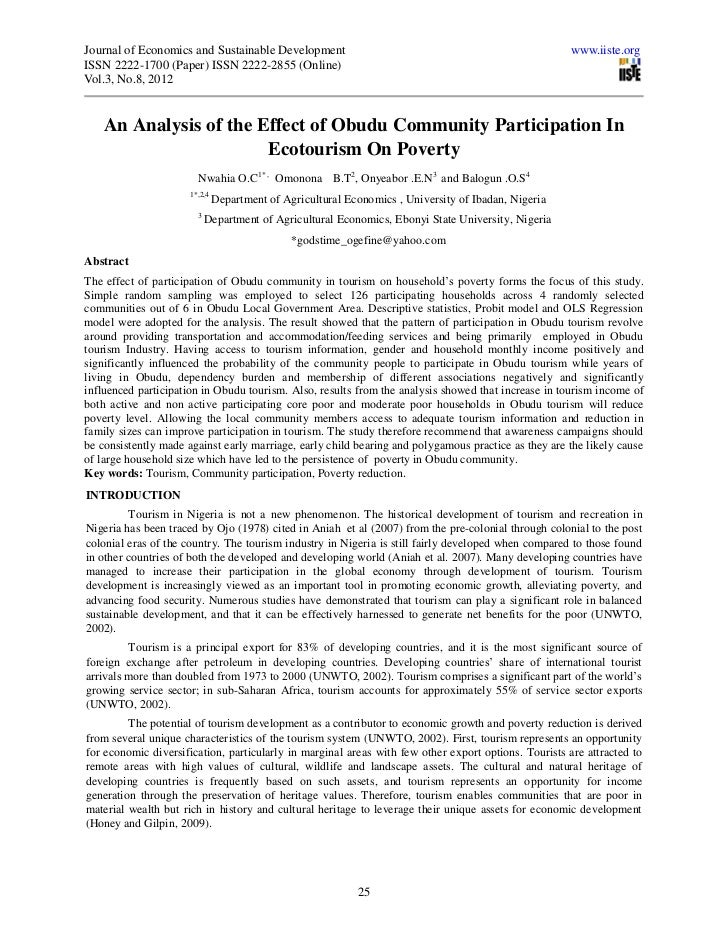 An analysis of the effect of obudu community participation in ecotourism on poverty