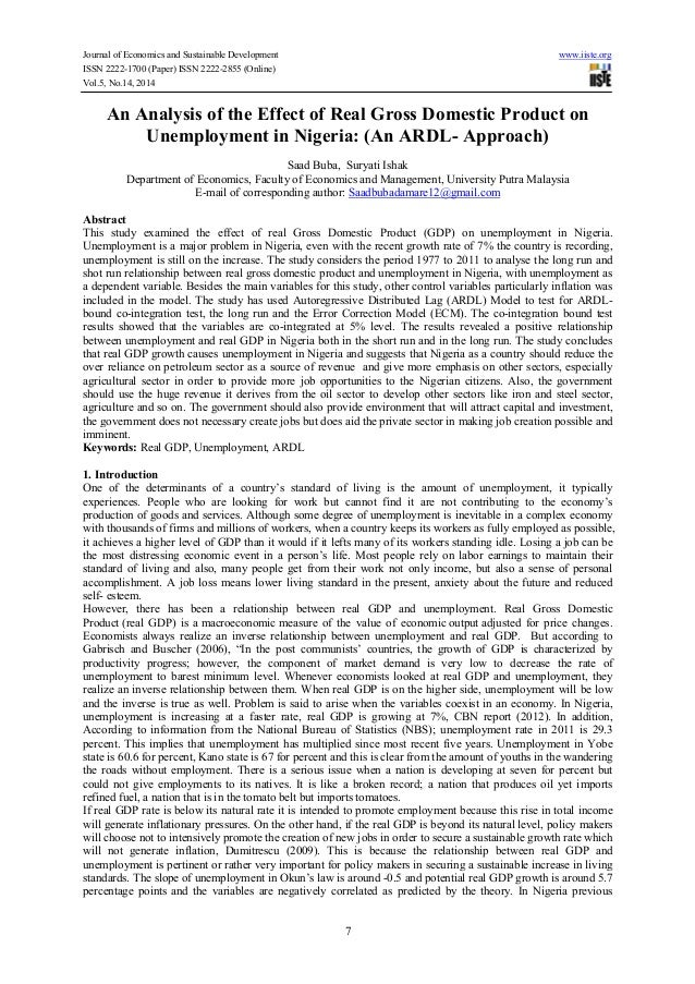 Journal of Economics and Sustainable Development www.iiste.org ISSN 2222-1700 (Paper) ISSN 2222-2855 (Online) Vol.5, No.14...