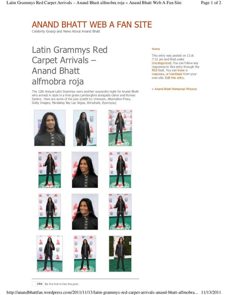 Latin Grammys Red Carpet Arrivals – Anand Bhatt alfmobra roja « Anand Bhatt Web A Fan Site                                ...