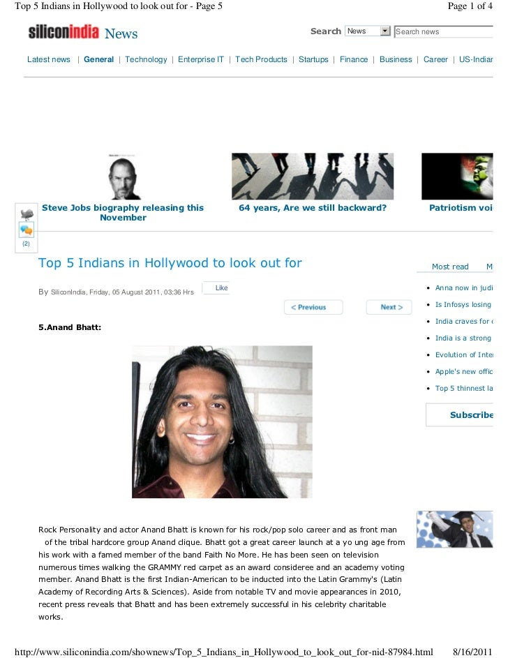 Top 5 Indians in Hollywood to look out for - Page 5                                                               Page 1 o...