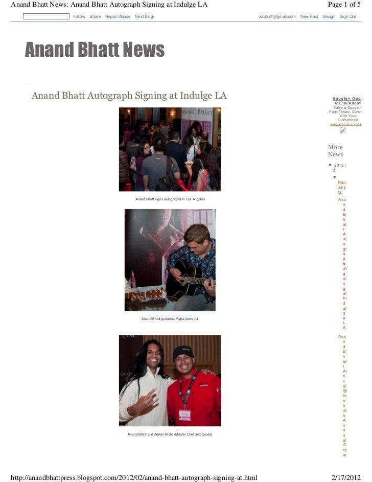 Anand Bhatt News: Anand Bhatt Autograph Signing at Indulge LA                                                             ...