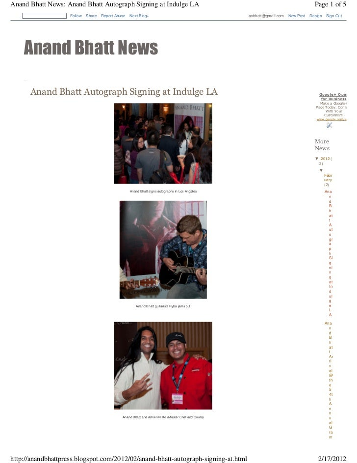 Anand bhatt autograph signing at indulge los angeles event
