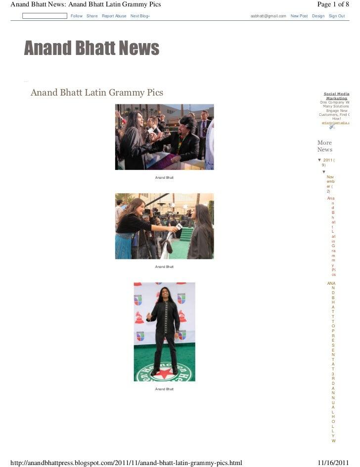 Anand Bhatt News: Anand Bhatt Latin Grammy Pics                                                                           ...