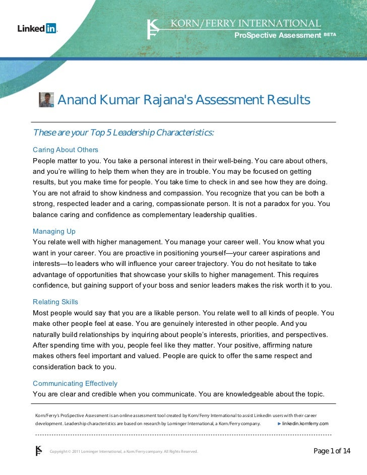 ProSpective Assessment           Anand Kumar Rajanas Assessment ResultsThese are your Top 5 Leadership Characteristics:Car...