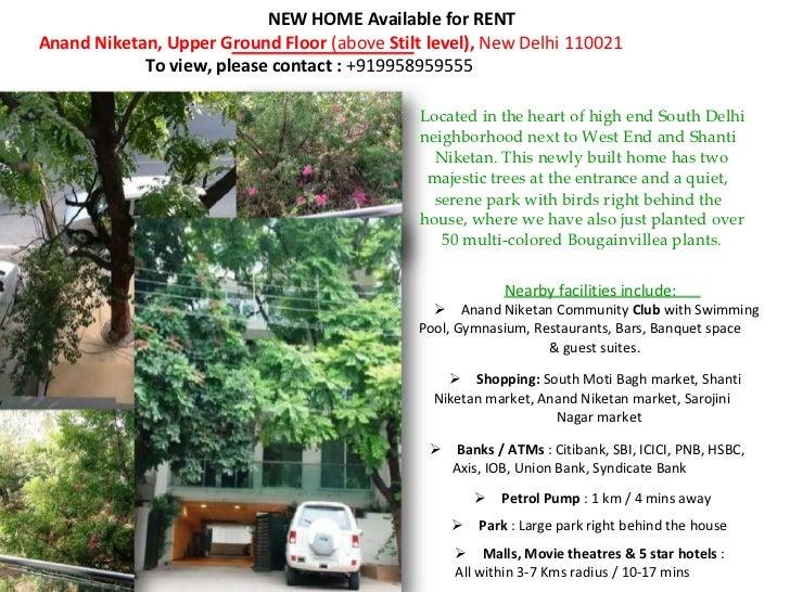 NEW HOME Available for RENTAnand Niketan, Upper Ground Floor (above Stilt level), New Delhi 110021            To view, ple...