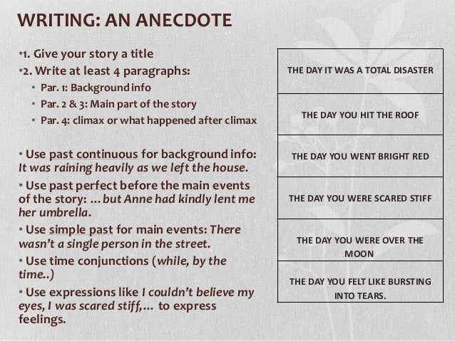 anecdotes for personal essays Funny anecdotes: the page contains a list funny, humorous, clever, or inspiring anecdotes they are short stories used to improve speeches, remarks, essays, toasts and articles they are short stories used to improve speeches, remarks, essays, toasts and articles.
