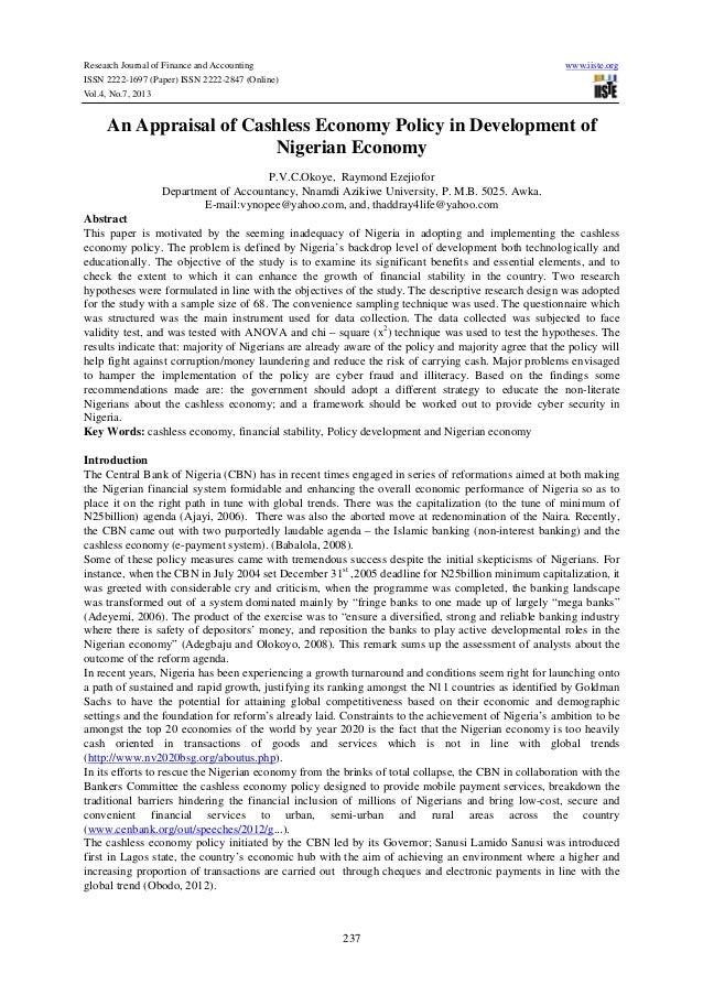 An appraisal of cashless economy policy in development of nigerian economy