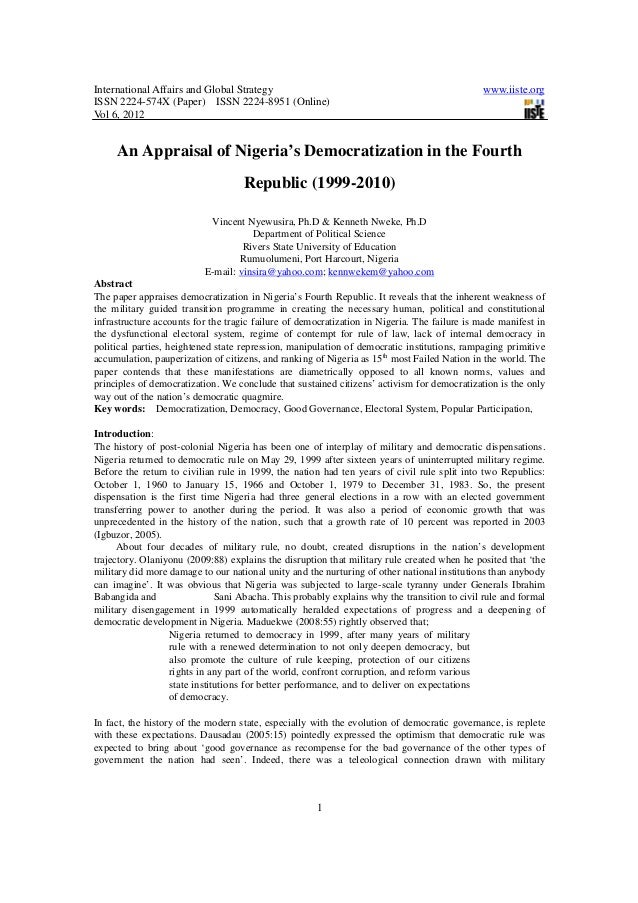 An appraisal of nigeria's democratization in the fourth