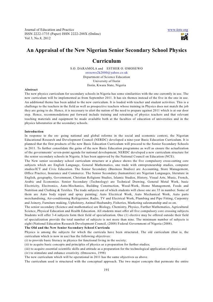 An appraisal of the new nigerian senior secondary school physics curriculum