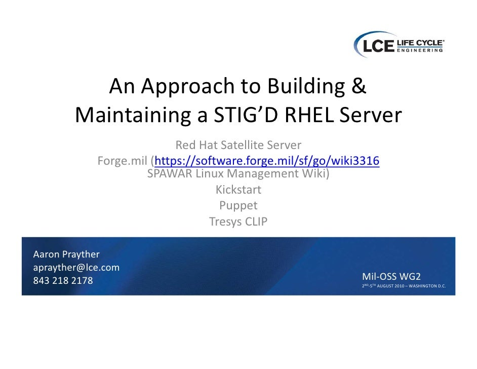 An Approach to Building & Maintaining a STIG'D RHEL Server