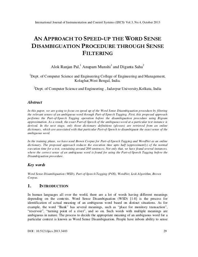 An approach to speed up the word sense disambiguation procedure through sense filtering