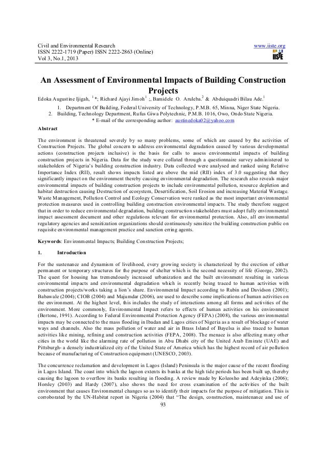 An assessment of environmental impacts of building construction projects