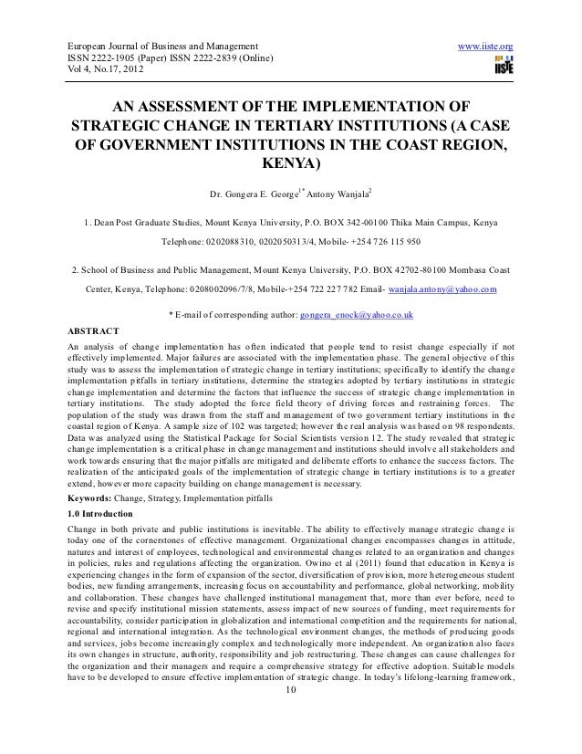An assessment of the implementation of strategic change in tertiary institutions (a case of government institutions in the coast region, kenya)