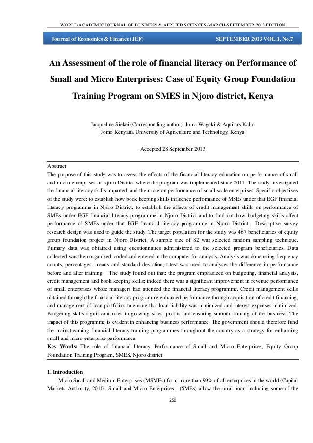 An Assessment of the role of Financial literacy on Performance of Small and Micro Enterprises: Case of Equity Group Foundation Training Program on SMES in Njoro district, Kenya