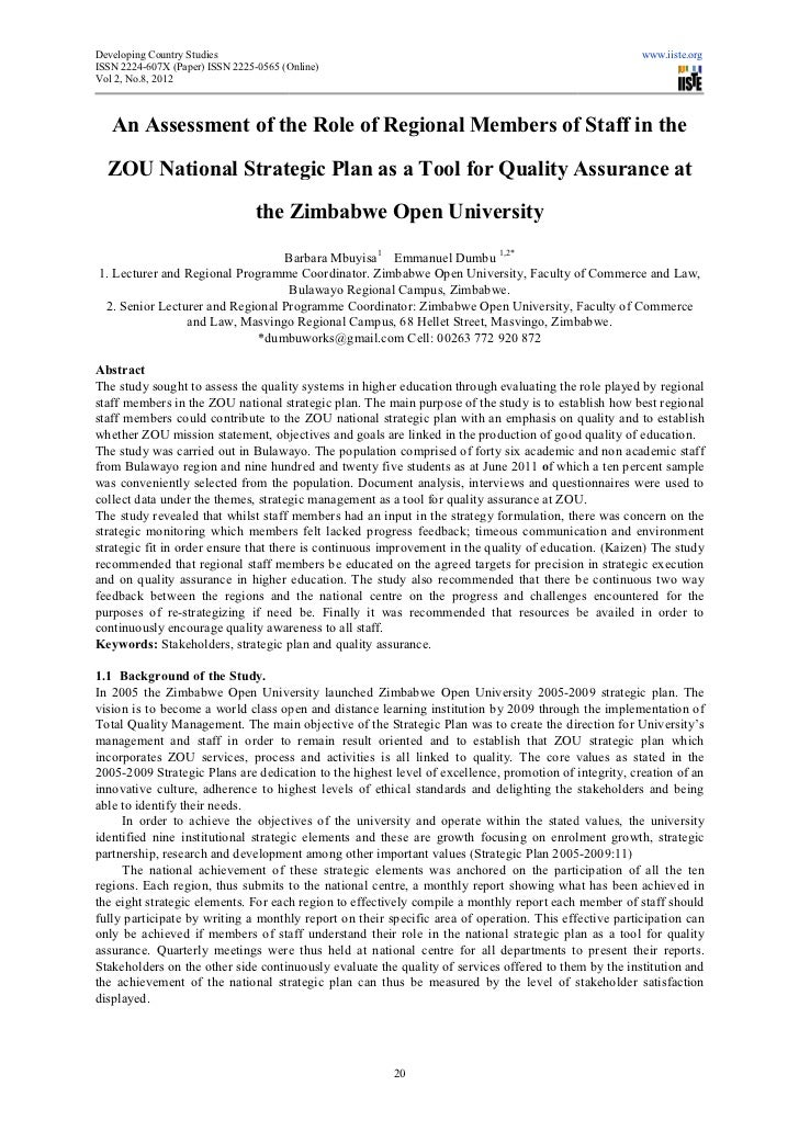 An assessment of the role of regional members of staff in the zou national strategic plan as a tool for quality assurance at the zimbabwe open university