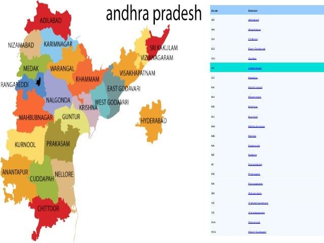 Code   DistrictAD     AdilabadAN     AnantapurCH     ChittoorEG     East GodavariGU     GunturHY     HyderabadCU     Kadap...