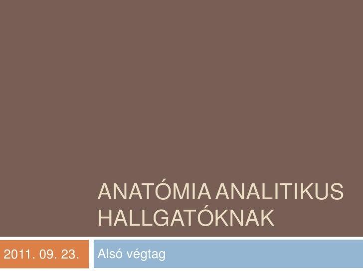 Anatómia analitikus hallgatóknak<br />Alsó végtag<br />2011. 09. 23.<br />