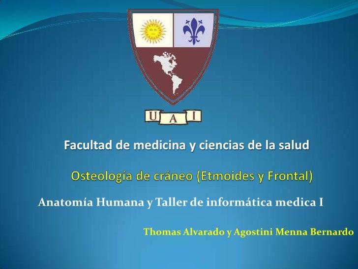 Facultad de medicina y ciencias de la salud<br />Osteología de cráneo (Etmoides y Frontal) <br />Anatomía Humana y Taller ...