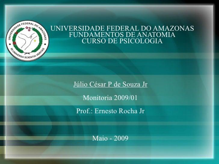 UNIVERSIDADE FEDERAL DO AMAZONAS FUNDAMENTOS DE ANATOMIA CURSO DE PSICOLOGIA Maio - 2009 Júlio César P de Souza Jr Monitor...