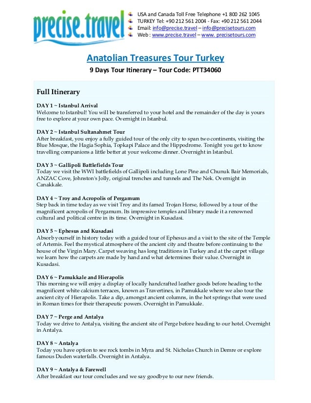 Anatolian Treasures Tour Turkey in 9 Days