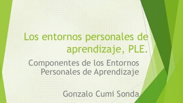 Los entornos personales de  aprendizaje, PLE.  Componentes de los Entornos  Personales de Aprendizaje  Gonzalo Cumi Sonda