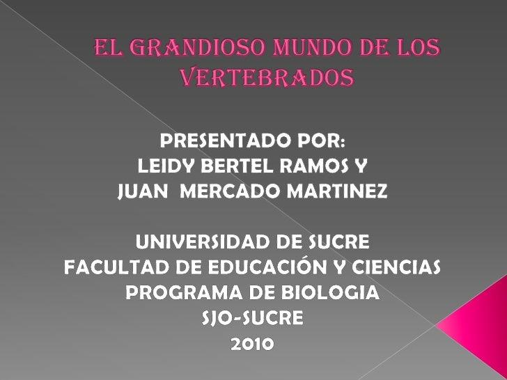 El grandioso mundo de los vertebrados<br />PRESENTADO POR: <br />LEIDY BERTEL RAMOS Y<br />JUAN  MERCADO MARTINEZ <br />UN...