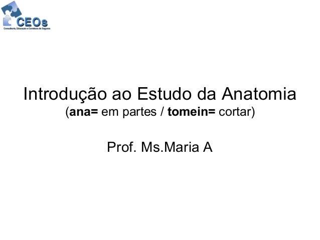 Introdução ao Estudo da Anatomia    (ana= em partes / tomein= cortar)           Prof. Ms.Maria A
