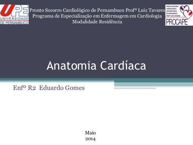 Anatomia Cardíaca Enfº R2 Eduardo Gomes Pronto Socorro Cardiológico de Pernambuco Profº Luiz Tavares Programa de Especiali...