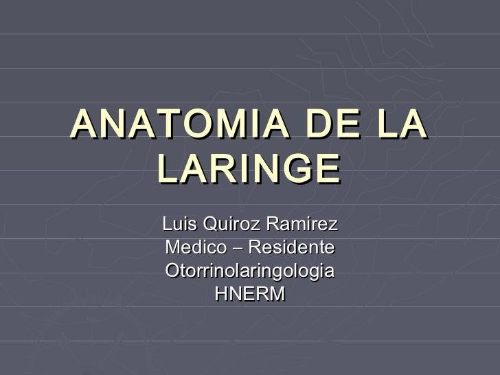ANATOMIA DE LA   LARINGE   Luis Quiroz Ramirez   Medico – Residente   Otorrinolaringologia         HNERM