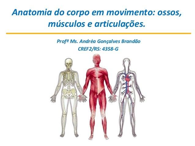 Anatomia do corpo em movimento: ossos, músculos e articulações. Profª Ms. Andréa Gonçalves Brandão CREF2/RS: 4358-G