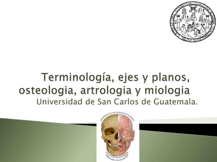 Terminología, ejes y planos, osteologia, artrologia y miologia<br />Universidad de San Carlos de Guatemala.<br />