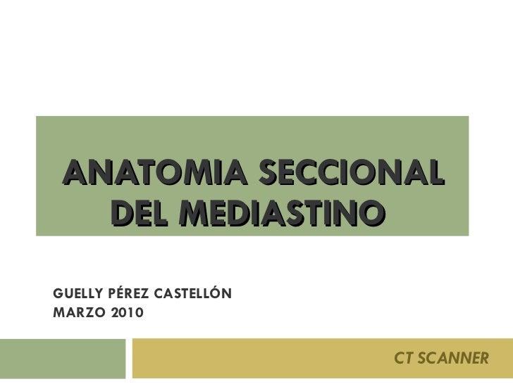 ANATOMIA SECCIONAL DEL MEDIASTINO  CT SCANNER GUELLY PÉREZ CASTELLÓN MARZO 2010