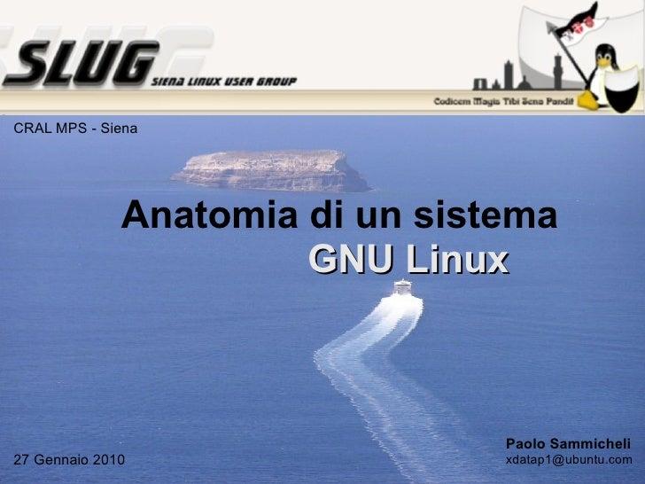 Anatomia di un  sistema   GNU Linux Paolo Sammicheli [email_address] 27 Gennaio 2010 CRAL MPS - Siena