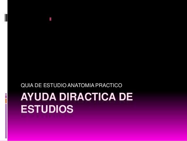 AYUDA DIRACTICA DE ESTUDIOS QUIA DE ESTUDIO ANATOMIA PRACTICO