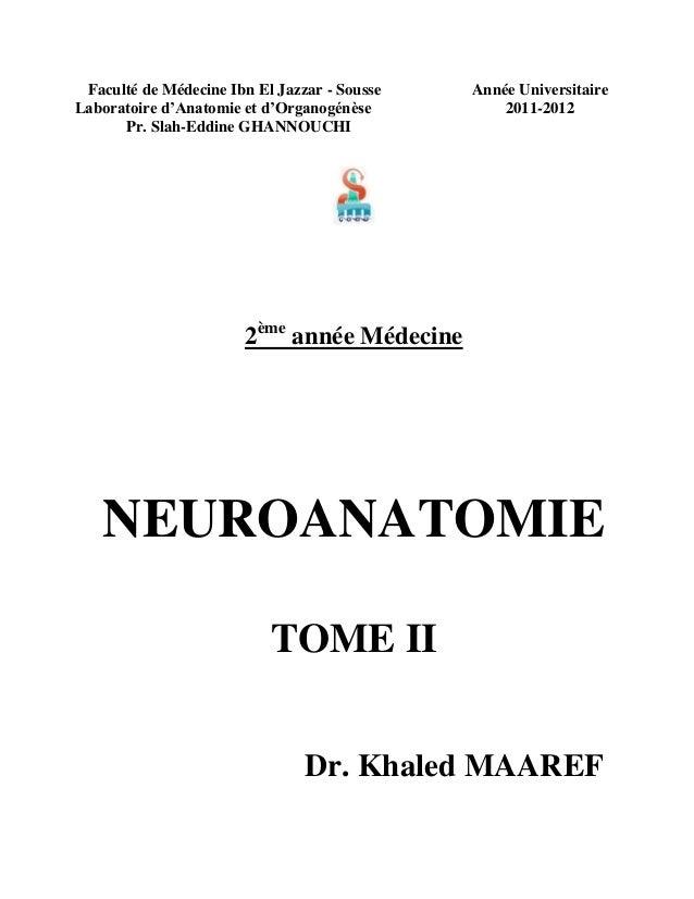 Faculté de Médecine Ibn El Jazzar - Sousse Laboratoire d'Anatomie et d'Organogénèse Pr. Slah-Eddine GHANNOUCHI  Année Univ...