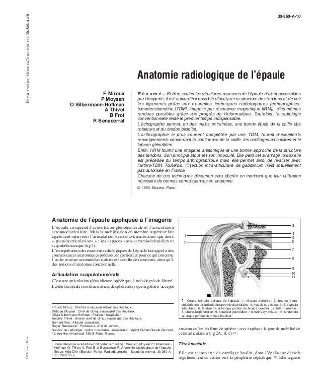30-360-A-10  Anatomie radiologique de l'épaule  F Miroux  P Moysan  O Silbermann-Hoffman  A Thivet  B Frot  R Benacerraf  ...