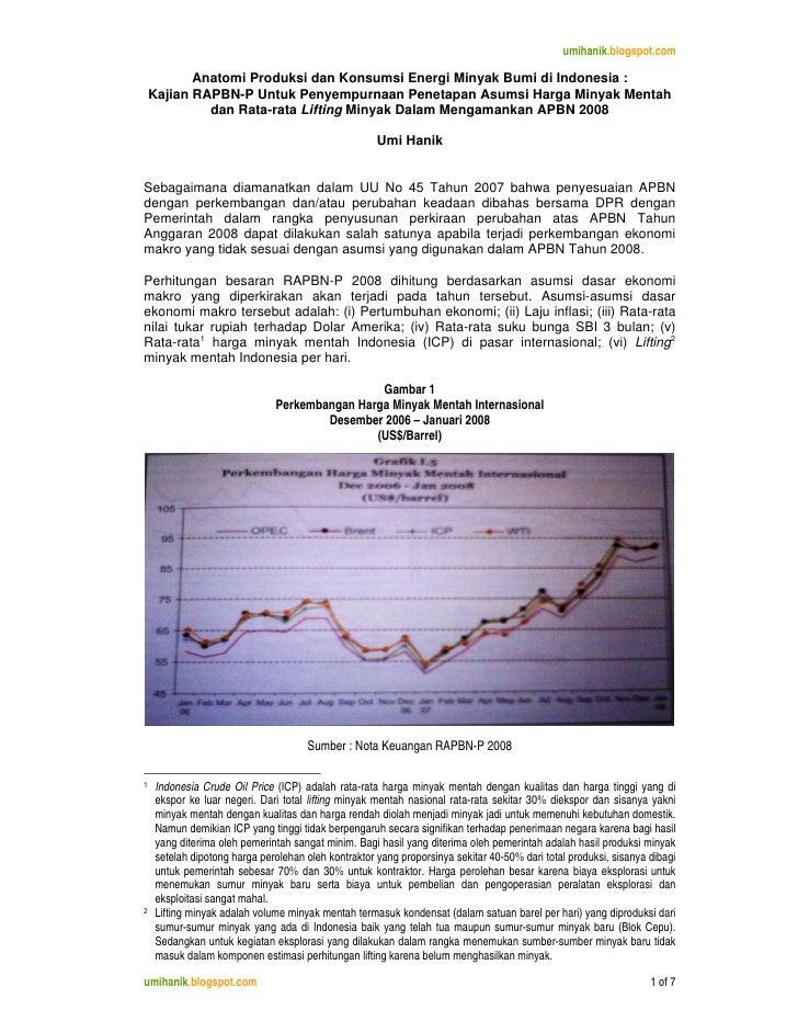umihanik.blogspot.com             Anatomi Produksi dan Konsumsi Energi Minyak Bumi di Indonesia :     Kajian RAPBN-P Untuk...