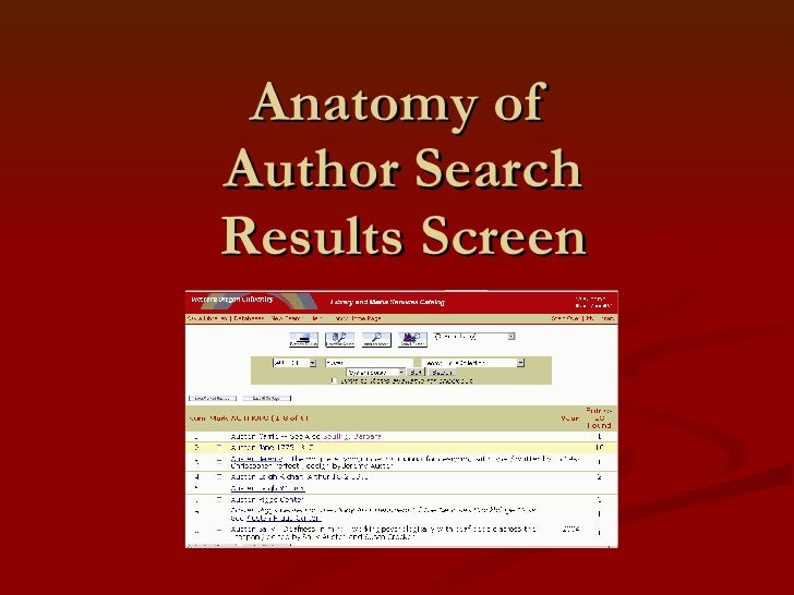 Anatomy of  Author Search Results Screen