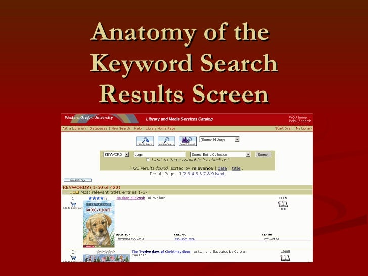 Anatomy of the  Keyword Search Results Screen