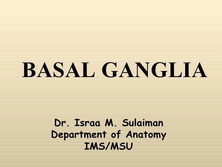 BASAL GANGLIA Dr. Israa M. Sulaiman Department of Anatomy IMS/MSU