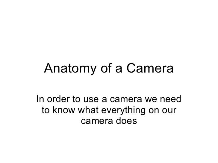 Anatomy of a Camera In order to use a camera we need to know what everything on our camera does