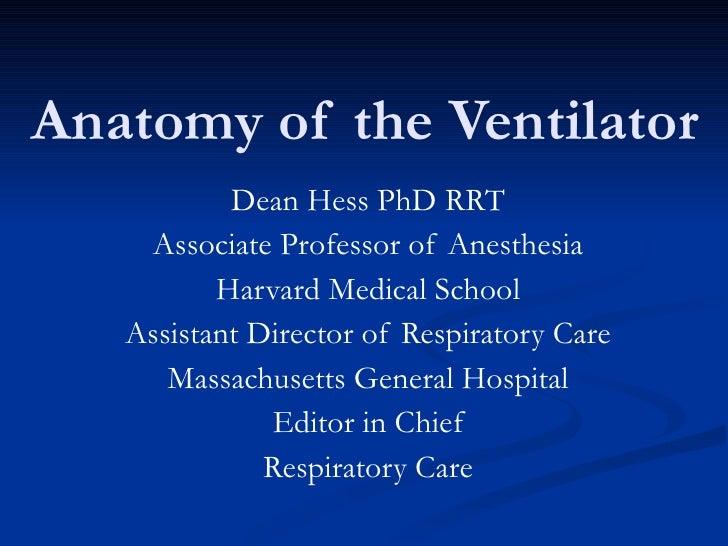 Anatomy of the Ventilator Dean Hess PhD RRT Associate Professor of Anesthesia Harvard Medical School Assistant Director of...