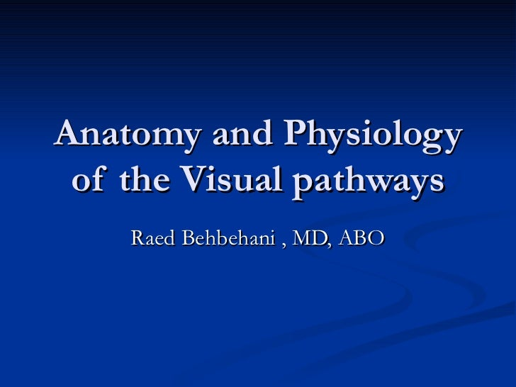Anatomy and Physiology of the Visual pathways    Raed Behbehani , MD, ABO