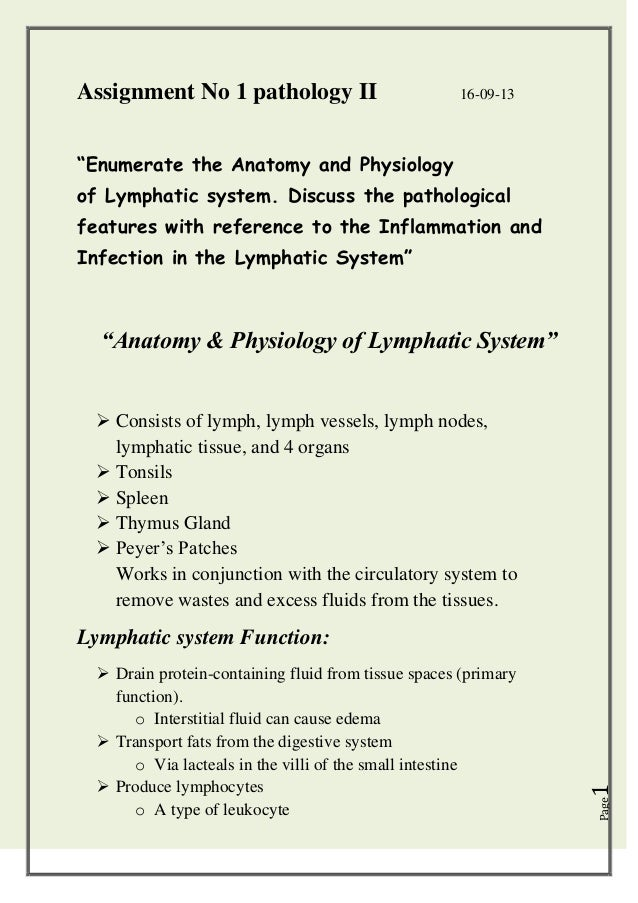 "Assignment No 1 pathology II  16-09-13  ""Enumerate the Anatomy and Physiology of Lymphatic system. Discuss the pathologica..."