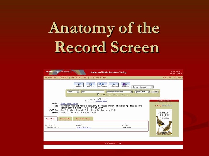 Anatomy of the  Record Screen