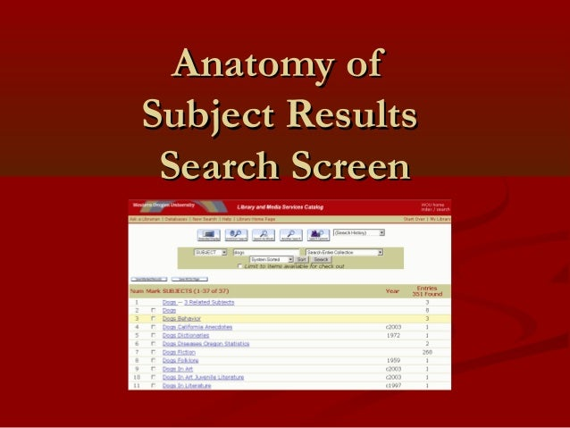 Anatomy ofAnatomy of Subject ResultsSubject Results Search ScreenSearch Screen