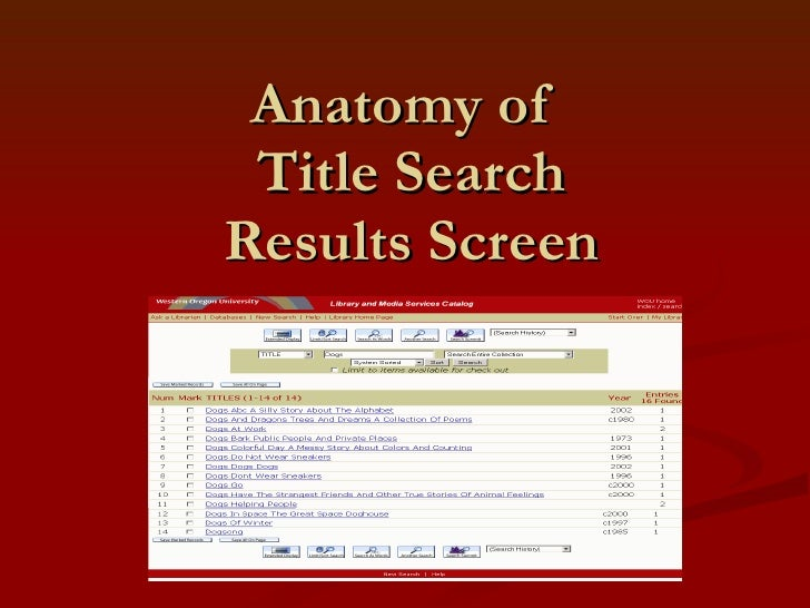Anatomy of  Title Search Results Screen